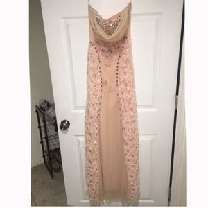 Pink strapless beaded maxi dress